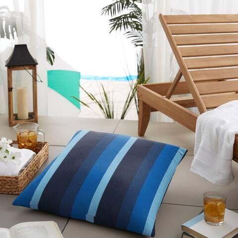 Sunbrella Indigo Blue Stripe Indoor/ Outdoor Square Floor Pillow - 26 X 26