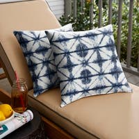 Sunbrella Indigo Geometric Indoor/ Outdoor Square Pillow, Set of 2