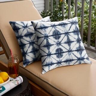 Sunbrella Indigo Geometric Indoor/ Outdoor Square Pillow, Set of 2