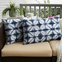 Sunbrella Indigo Geometric Indoor/ Outdoor XL Lumbar Pillow, Set of 2 - 16 x 26