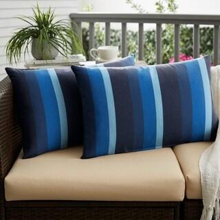 Sunbrella Indigo Blue Stripe Indoor/ Outdoor XL Lumbar Pillow, Set of 2 - 16 x 26