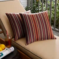 Sunbrella Red Multi Stripe Indoor/ Outdoor Square Pillow, Set of 2