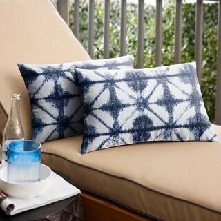 Sunbrella Indigo Geometric Indoor/ Outdoor Lumbar Pillow, Set of 2