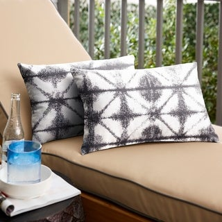 Sunbrella Grey Geometric Indoor/ Outdoor Lumbar Pillow, Set of 2