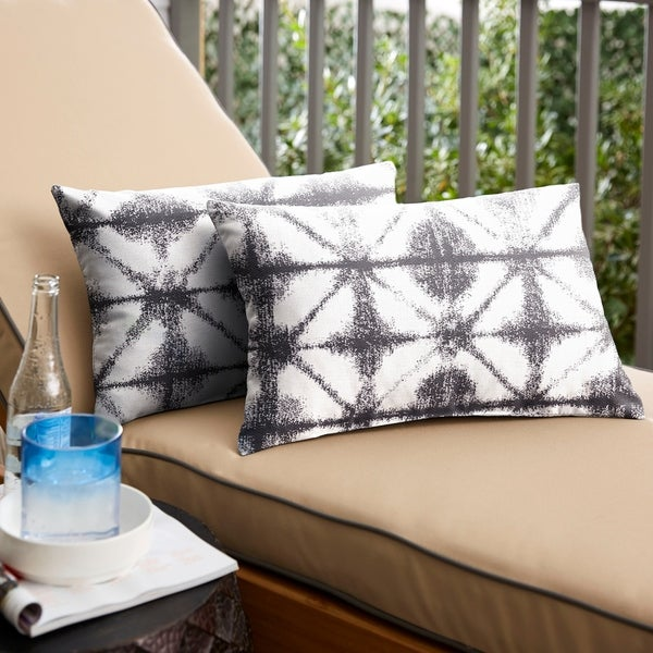 Shop Sunbrella Grey Geometric Indoor Outdoor Lumbar
