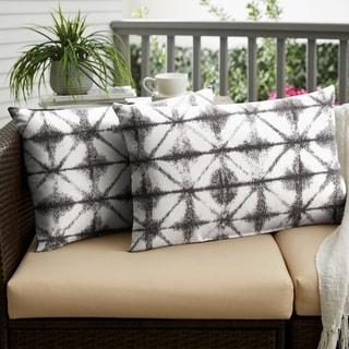 Sunbrella Grey Geometric Indoor/ Outdoor XL Lumbar Pillow, Set of 2 - 16 x 26