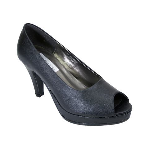 PEERAGE Ruth Women Extra Wide Width Faux Leather Platform Heel Pumps