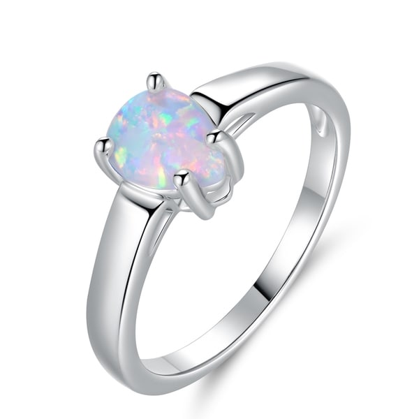 94a4e3b94f85a6 Shop Rhodium Plated Teardrop Fire Opal Ring - On Sale - Free Shipping On  Orders Over $45 - Overstock - 21814677