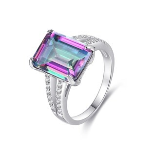 Link to Emerald-Cut Lab-Created Topaz Ring Similar Items in Rings