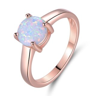 Rose Gold Plated Round Shape Fire Opal Solitaire Ring