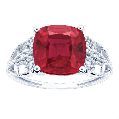 10K White Gold 3.05ct TW Ruby and Diamond Ring - Red