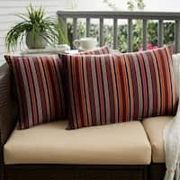 Sunbrella Red Multi Stripe Indoor/ Outdoor XL Lumbar Pillow, Set of 2 - 16 x 26
