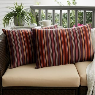 Sunbrella Red Multi Stripe Indoor/ Outdoor XL Lumbar Pillow, Set of 2 - 16 x 26