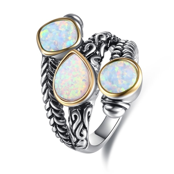 8a013afa2 Shop Rhodium Plated 3 Stone Oxidized Opal Ring - On Sale - Free Shipping On  Orders Over $45 - Overstock - 21814854