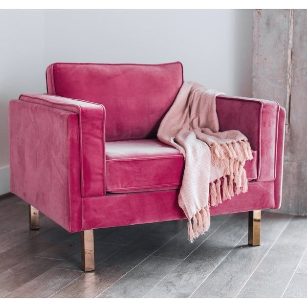 Shop kinsley modern pink velvet upholstered living room - Modern upholstered living room chairs ...