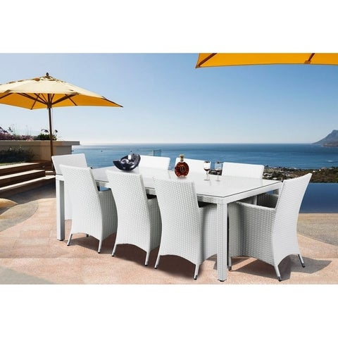 9 Piece Outdoor White WIcker Dining Set with Chairs - CHIASSO 8