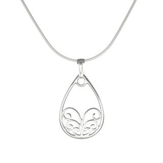 Handmade Jewelry by Dawn Open Teardrop Sterling Silver Snake Chain Necklace (USA)