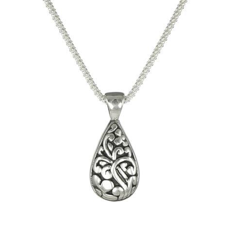Handmade Jewelry by Dawn Sterling Silver Teardrop Scroll Pendant Popcorn Chain Necklace (USA)