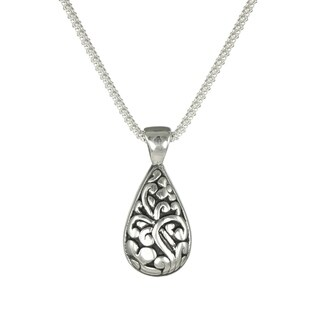 Handmade Jewelry by Dawn Sterling Silver Teardrop Scroll Pendant Popcorn Chain Necklace (USA)