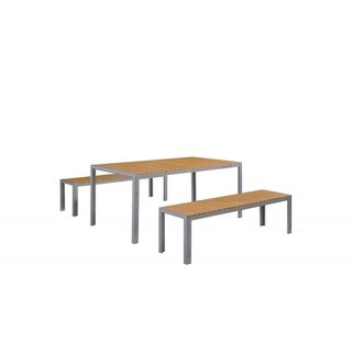 Garden Dining Furniture - Brown Faux Wood Table and Benches