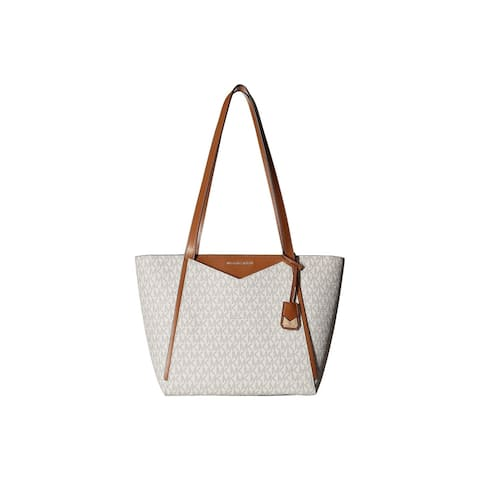 5a5579b2ba28 Michael Kors Whitney Signature Small Top Zip Vanilla Tote
