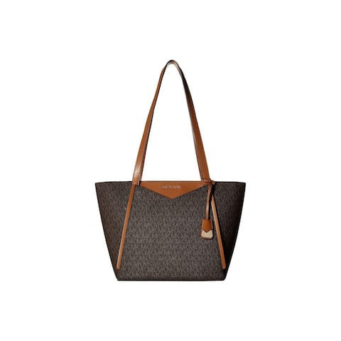 8d72b3863c41 Michael Kors Whitney Signature Small Top Zip Brown Tote