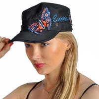 Dream Control Rhinestoned Butterfly Embroidered Baseball Cap Black