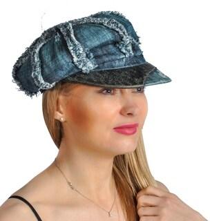 Dream Control Denim Distressed Leather Lining Irish Style Hats Blue