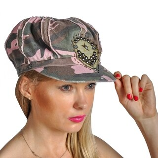Dream Control Military Embroidered Rhinestone Camoflauge Irish Style Hats Pink