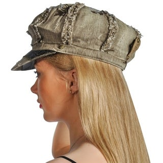 Dream Control Distressed Denim Leather Lining Irish Style Hats Olive