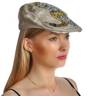 Dream Control Distressed Embroidered Flat Style Hats Beige