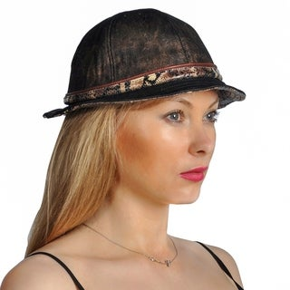 Dream Control Linen Leather Bucket Stingy Beam Style Hats Brown