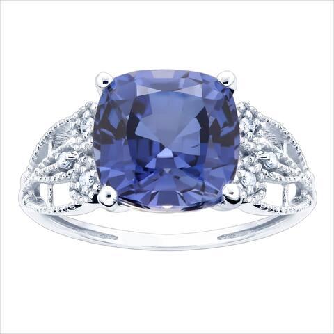 10K White Gold 3.27ct TW Tanzanite and Diamond Ring - Purple
