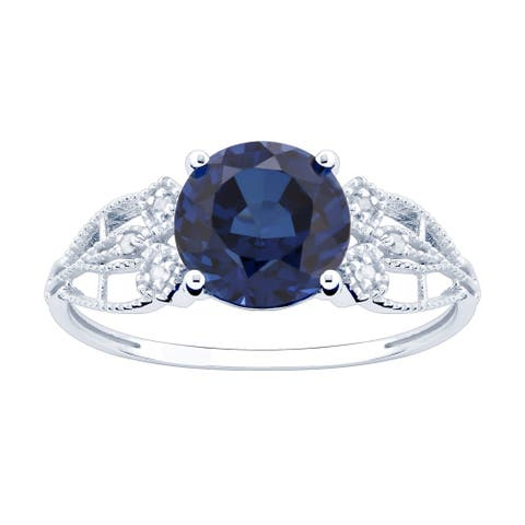 10K White Gold 2.97ct TW Sapphire and Diamond Ring - Blue