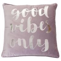 """20"""" Vee Good Vibes Only Script Velvet Pillow"""