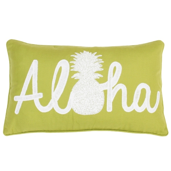 12x20 Aloha Pineapple Script Faux Linen Pillow