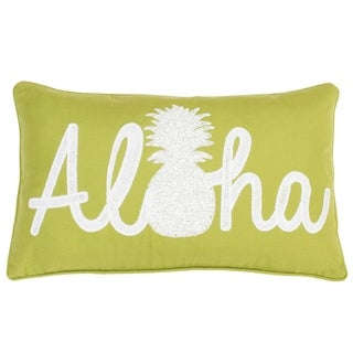 12x20 Aloha Pineapple Script Faux Linen Pillow