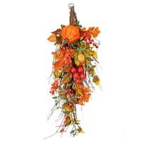 24 Inch Waterproof Pumpkin Berry Maple and Oak Leaf Teardrop