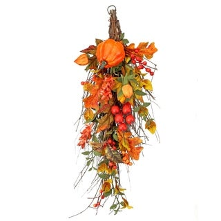 24 Inch Waterproof Pumpkin Berry Maple and Oak Leaf Teardrop