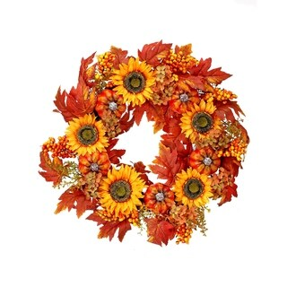 24 Inch Hydrangea Sunflower Harvest Mixed Wreath