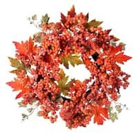 24 Inch Waterproof Frosted Berry Oak Leaf Wreath