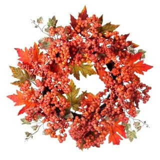 24 Inch Waterproof Frosted Berry Oak Leaf Wreath