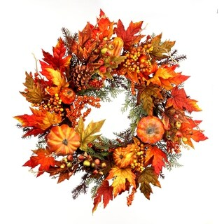 26 Inch Waterproof Pumpkin Gourd, Cedar, Berry, Maple Leaf Wreath