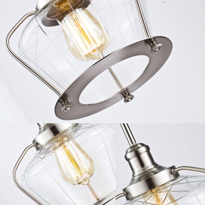 Shop Black Friday Deals On Industrial Brushed Nickel Glass Pendant Lighting Kitchen Light Fixture Overstock 21826942