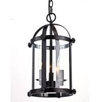 Vintage Metal Foyer Lantern Clear Glass Chandelier 3-Light Pendant Lighting, Oil Rubbed Bronze