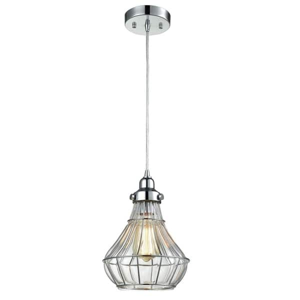 Vintage Ed Gl Wire Cage Ceiling Pendant Light