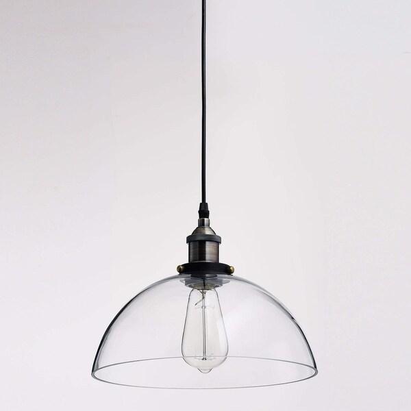 Beau Industrial Clear Glass Shade Kitchen Island Pendant Lighting, Antique Bronze