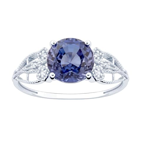 10K White Gold 2.90ct TW Tanzanite and Diamond Ring - Purple
