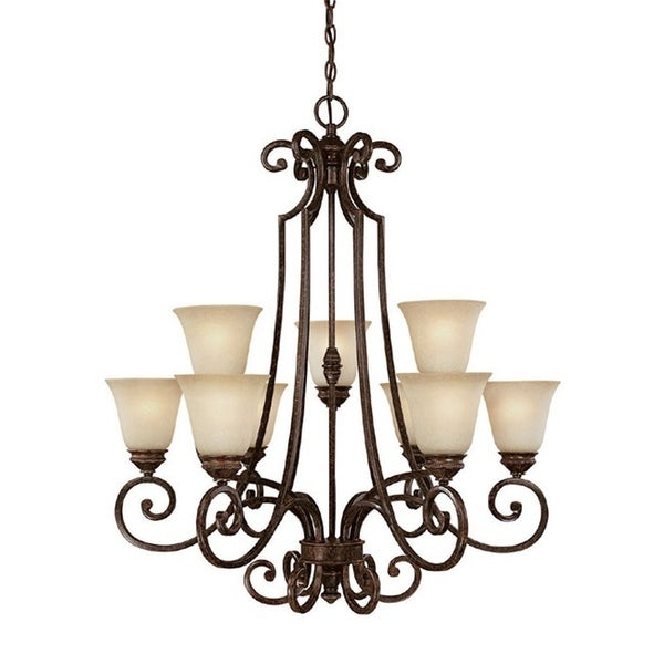 Capital Lighting Barclay Collection 9 Light Chesterfield Brown Chandelier