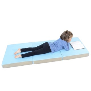 "Milliard Toddler Nap Mat Tri Folding Mattress + Soft Removable Cover 24"" x 57"" x 3"" - Blue"